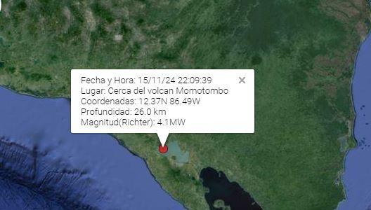 La réplica mayor fue de 4.1 en la escala de Richter. Captura del monitoreo de sismos del Ineter.