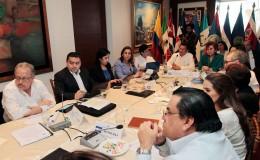 Los cancilleres centroamericanos durante la reunión del SICA, celebrada en El Salvador. LA PRENSA/AFP/Cencillería de El Salvador